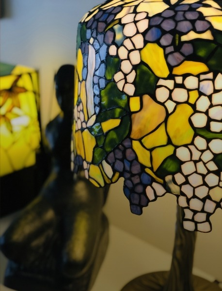 Freestanding lamps and stained glass